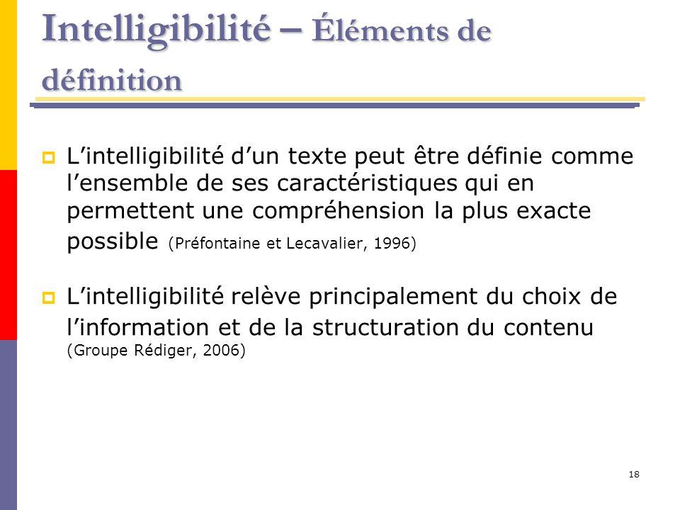 18 Intelligibilité – Éléments de définition Lintelligibilité dun texte peut être définie comme lensemble de ses caractéristiques qui en permettent une