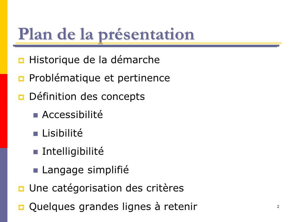 2 Plan de la présentation Historique de la démarche Problématique et pertinence Définition des concepts Accessibilité Lisibilité Intelligibilité Langa
