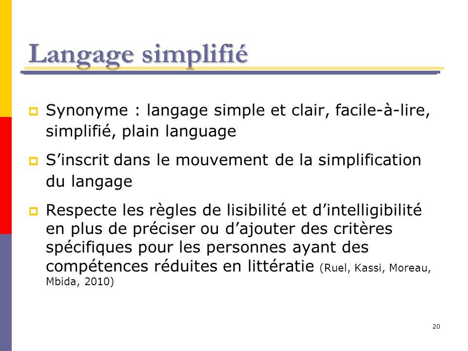 20 Langage simplifié Synonyme : langage simple et clair, facile-à-lire, simplifié, plain language Sinscrit dans le mouvement de la simplification du l