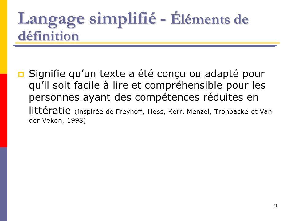 21 Langage simplifié - Éléments de définition Signifie quun texte a été conçu ou adapté pour quil soit facile à lire et compréhensible pour les person
