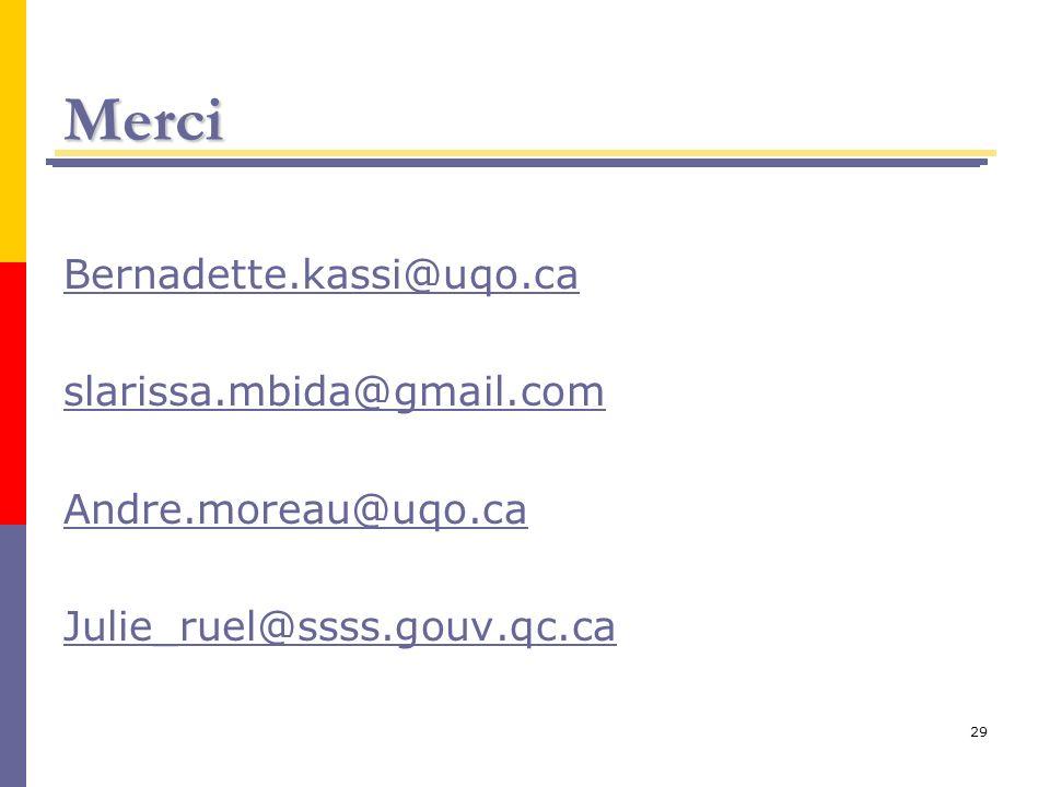 29 Merci Bernadette.kassi@uqo.ca slarissa.mbida@gmail.com Andre.moreau@uqo.ca Julie_ruel@ssss.gouv.qc.ca