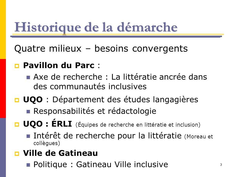 3 Historique de la démarche Quatre milieux – besoins convergents Pavillon du Parc : Axe de recherche : La littératie ancrée dans des communautés inclu