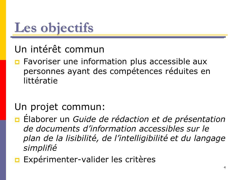 4 Les objectifs Un intérêt commun Favoriser une information plus accessible aux personnes ayant des compétences réduites en littératie Un projet commu
