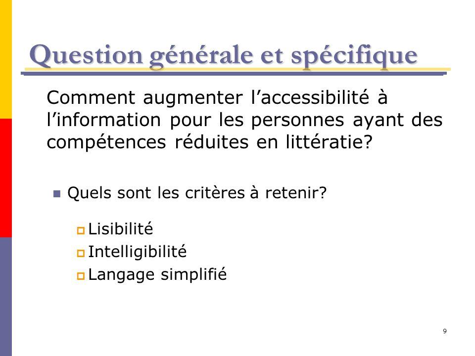9 Question générale et spécifique Comment augmenter laccessibilité à linformation pour les personnes ayant des compétences réduites en littératie? Que