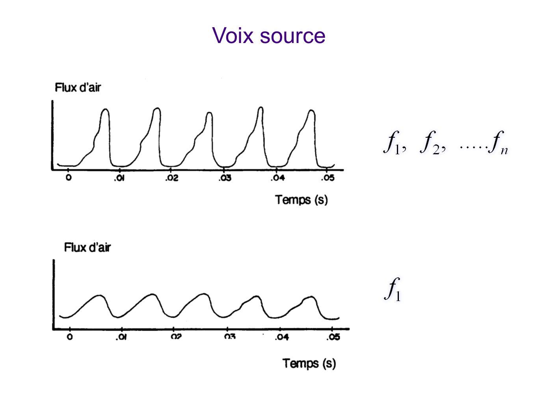 Voix source Montre la voix source produite par les cordes vocales. Les cavités résonantes (bouche, pharynx) ninterviennent pas encore. Selon le type d