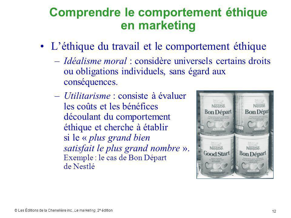 © Les Éditions de la Chenelière inc., Le marketing, 2 e édition 12 Comprendre le comportement éthique en marketing Léthique du travail et le comportem