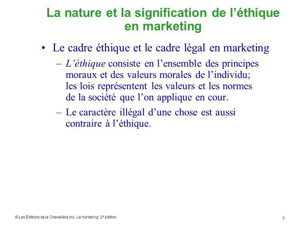 © Les Éditions de la Chenelière inc., Le marketing, 2 e édition 5 La nature et la signification de léthique en marketing Le cadre éthique et le cadre