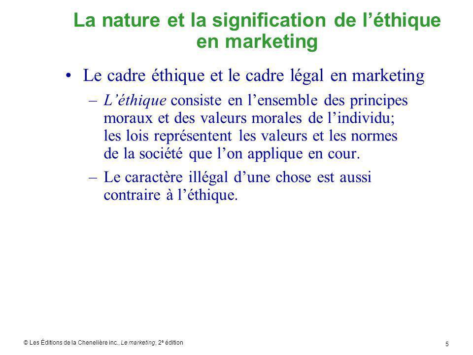 © Les Éditions de la Chenelière inc., Le marketing, 2 e édition 6 La nature et la signification de léthique en marketing Le cadre éthique et le cadre légal en marketing