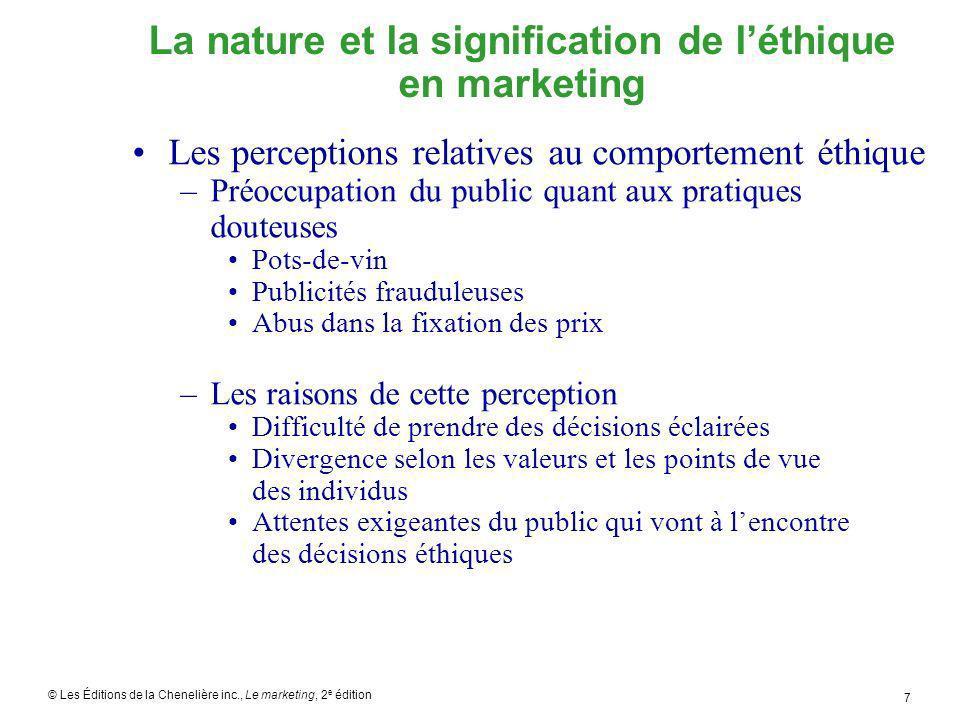 © Les Éditions de la Chenelière inc., Le marketing, 2 e édition 8 Comprendre le comportement éthique en marketing