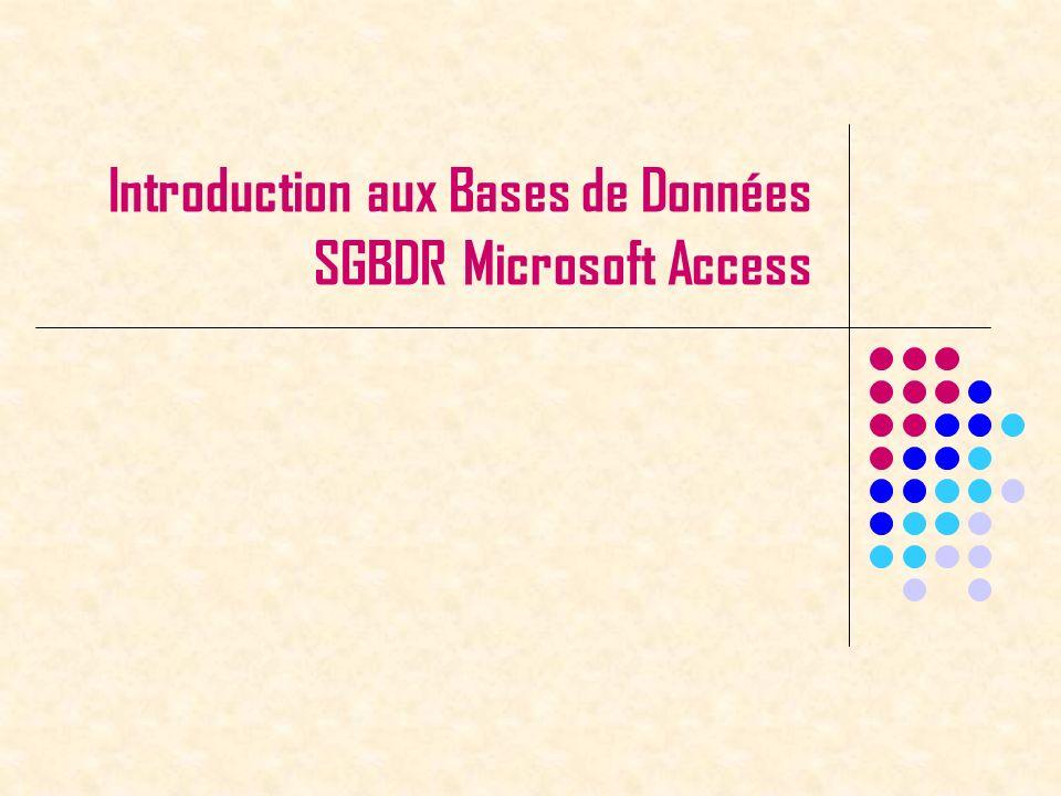 SGBD ACCESS52 Autres propriétés de la requêtes Click droit sur Requête, puis Propriétés Afficher les premières valeurs seulement Avec ou sans doublons Etc…