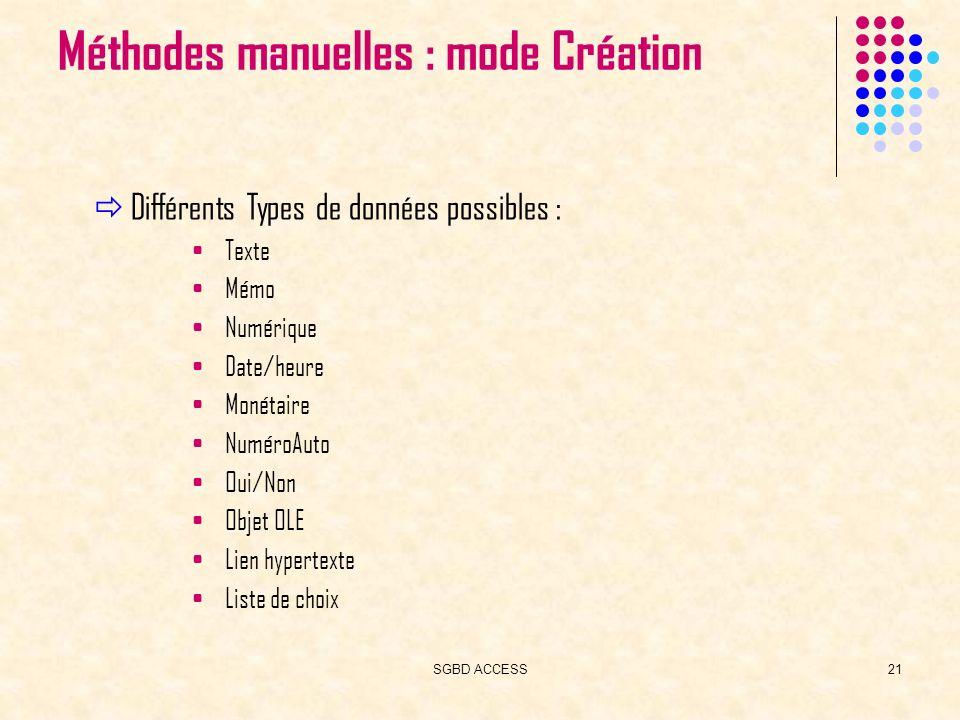 SGBD ACCESS21 Méthodes manuelles : mode Création Différents Types de données possibles : Texte Mémo Numérique Date/heure Monétaire NuméroAuto Oui/Non Objet OLE Lien hypertexte Liste de choix