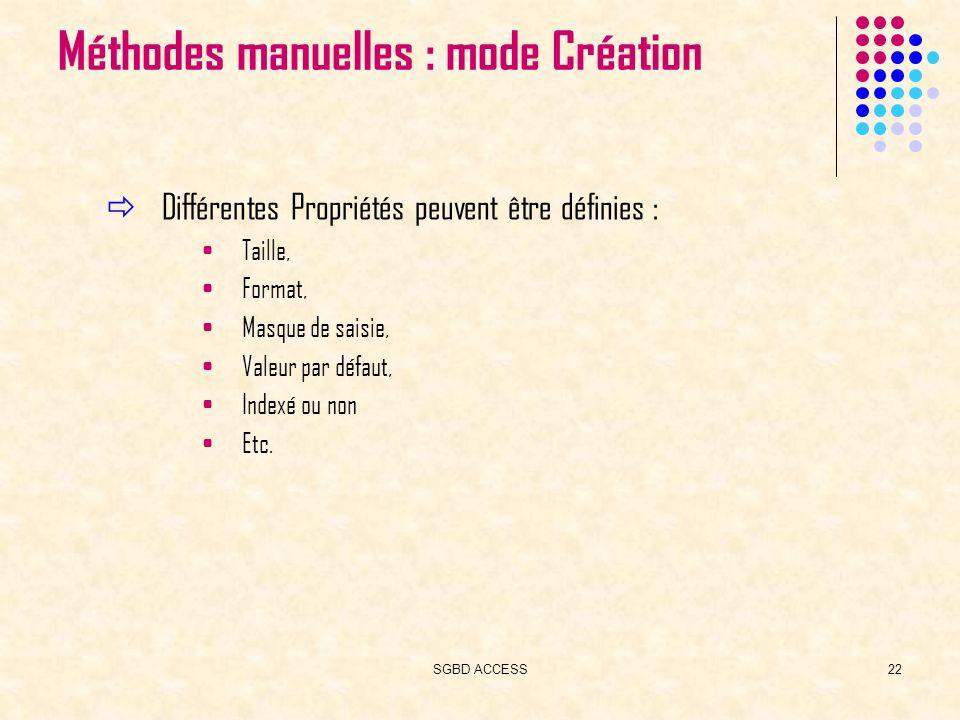 SGBD ACCESS22 Méthodes manuelles : mode Création Différentes Propriétés peuvent être définies : Taille, Format, Masque de saisie, Valeur par défaut, Indexé ou non Etc.