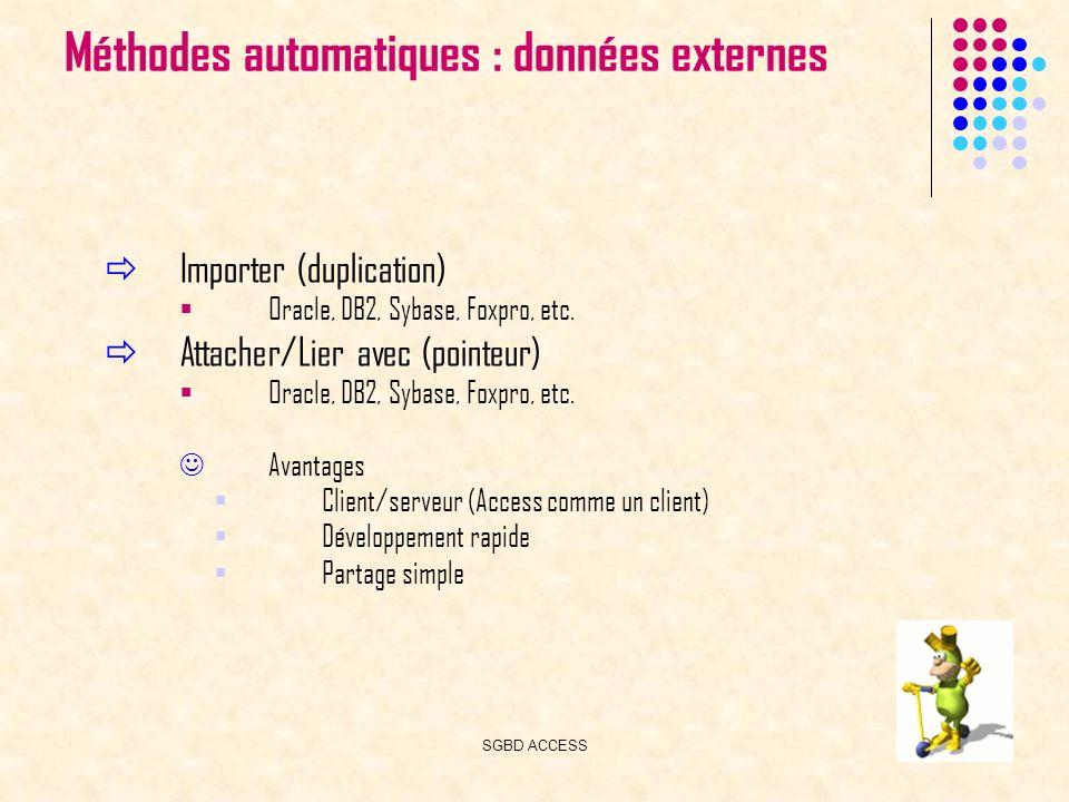 SGBD ACCESS24 Méthodes automatiques : données externes Importer (duplication) Oracle, DB2, Sybase, Foxpro, etc.