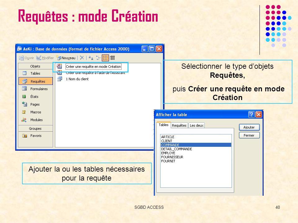 SGBD ACCESS40 Requêtes : mode Création Sélectionner le type dobjets Requêtes, puis Créer une requête en mode Création Ajouter la ou les tables nécessaires pour la requête