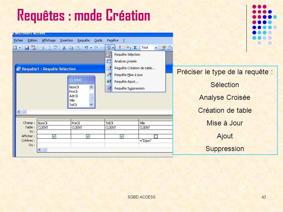 SGBD ACCESS43 Requêtes : mode Création Préciser le type de la requête : Sélection Analyse Croisée Création de table Mise à Jour Ajout Suppression