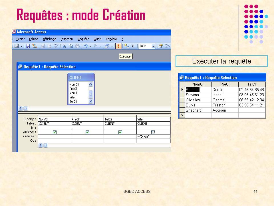 SGBD ACCESS44 Requêtes : mode Création Exécuter la requête