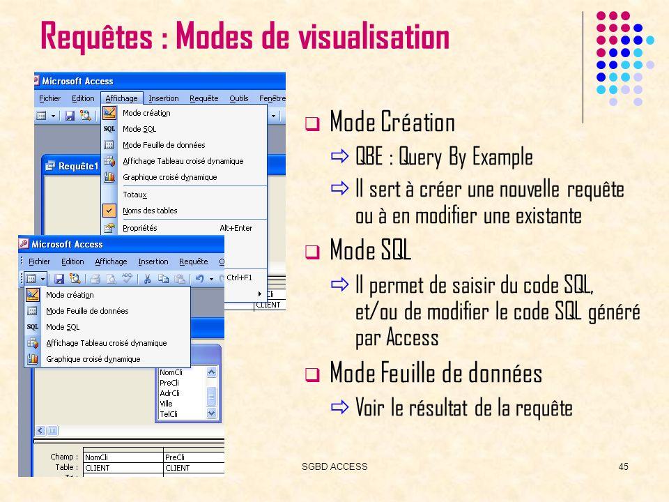 SGBD ACCESS45 Requêtes : Modes de visualisation Mode Création QBE : Query By Example Il sert à créer une nouvelle requête ou à en modifier une existante Mode SQL Il permet de saisir du code SQL, et/ou de modifier le code SQL généré par Access Mode Feuille de données Voir le résultat de la requête
