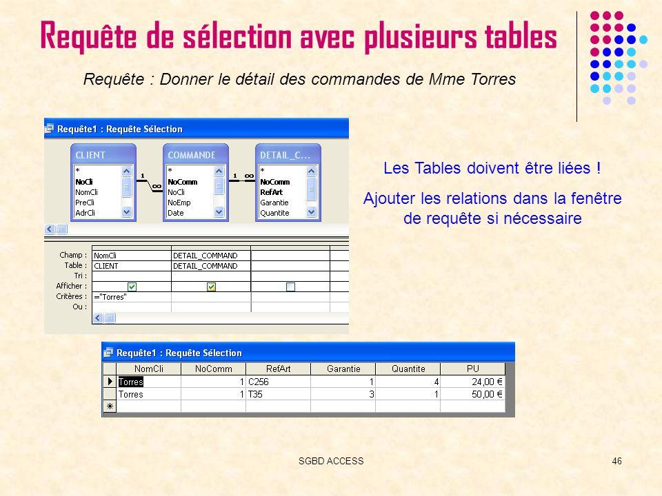SGBD ACCESS46 Requête de sélection avec plusieurs tables Requête : Donner le détail des commandes de Mme Torres Les Tables doivent être liées .