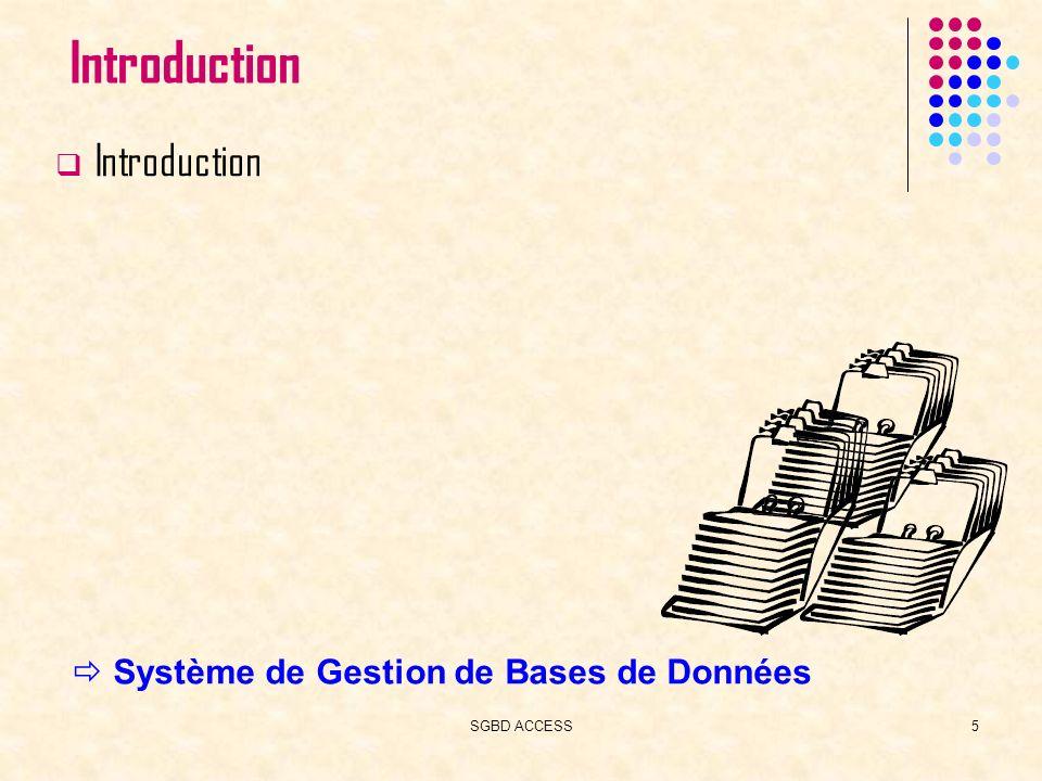 SGBD ACCESS16 Plan du cours Introduction Création dune BD Access Tables Requêtes Formulaires Etats Macros Pages Web Modules Administration Access