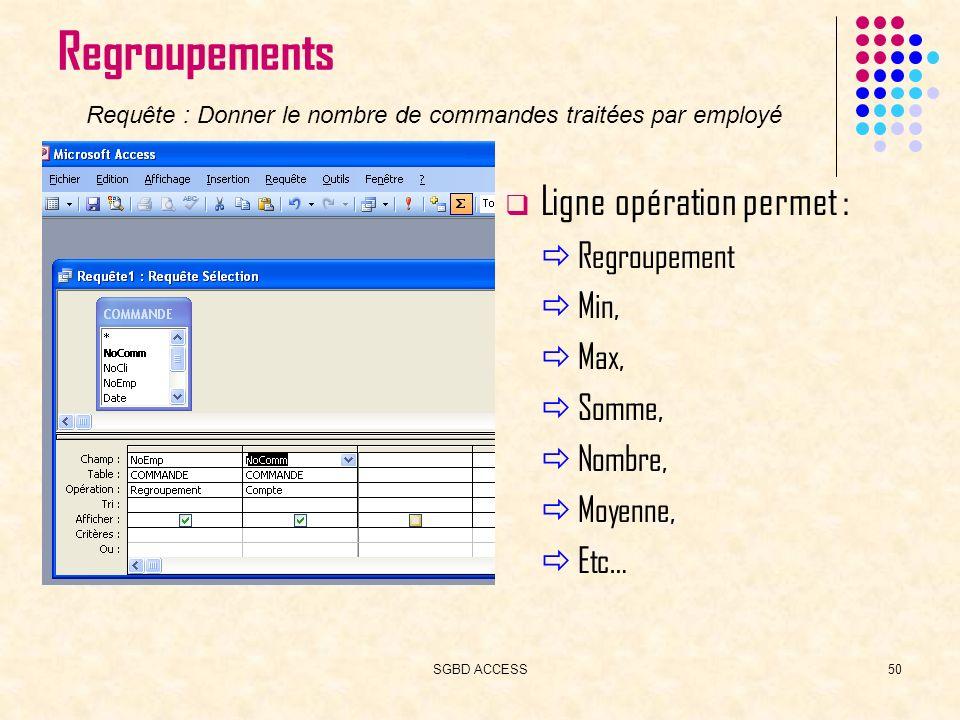 SGBD ACCESS50 Regroupements Ligne opération permet : Regroupement Min, Max, Somme, Nombre, Moyenne, Etc… Requête : Donner le nombre de commandes traitées par employé