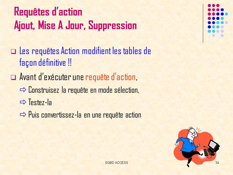SGBD ACCESS54 Requêtes daction Ajout, Mise A Jour, Suppression Les requêtes Action modifient les tables de façon définitive !.