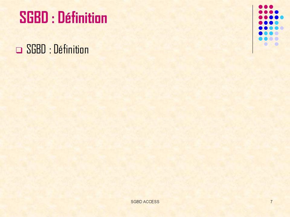 SGBD ACCESS28 Actif/Inactif Vrai/Faux Oui/NonFormatBooléen Oui/Non Numéro aléatoire attribué par Access Aleatoire Numéro séquentiel unique incrémental IncrementNouvelles Valeurs Champ non modifiabl e NuméroAuto différents formats de date et d heure Format Valeurs de date et d heure Date/Heure Jusqu à 65 535 Caractères Mémo Par défaut LongueurMaxi=2 55 Nombre maximum de caractères LongueurMaxiTaille du champ Combinaison de caractère s ( maximum 255) Texte() ValeursPropriétés associéesTypes de champs Tables : Contraintes dintégrité Définition du Type de Données