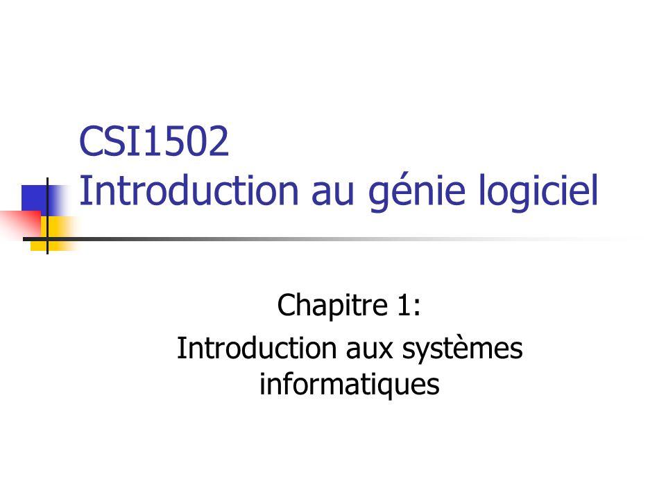 CSI1502 Introduction au génie logiciel Chapitre 1: Introduction aux systèmes informatiques