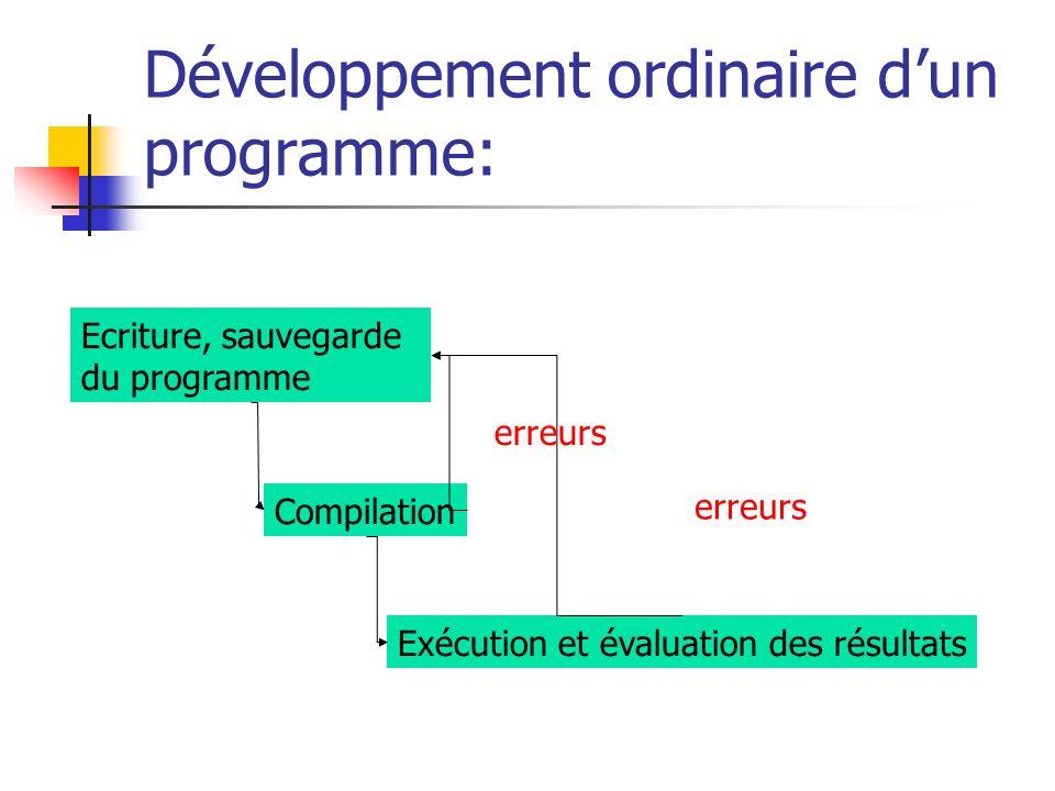 Développement ordinaire dun programme: Ecriture, sauvegarde du programme Compilation Exécution et évaluation des résultats erreurs