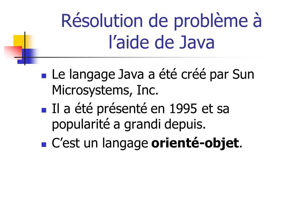 Résolution de problème à laide de Java Le langage Java a été créé par Sun Microsystems, Inc. Il a été présenté en 1995 et sa popularité a grandi depui