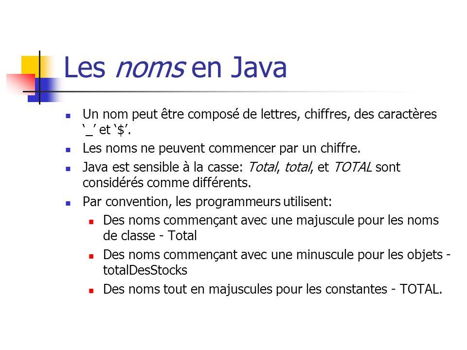 Les noms en Java Un nom peut être composé de lettres, chiffres, des caractères _ et $. Les noms ne peuvent commencer par un chiffre. Java est sensible