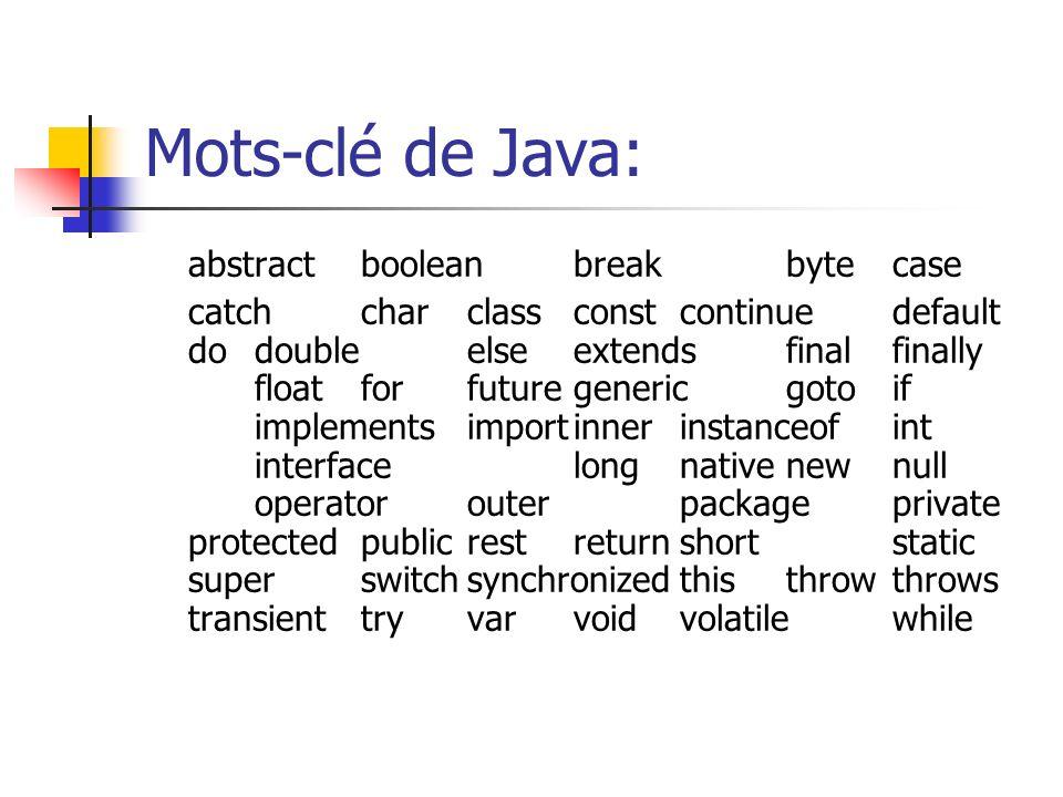 Mots-clé de Java: abstractbooleanbreakbytecase catchcharclassconstcontinuedefault dodoubleelseextendsfinalfinally floatforfuturegenericgotoif implemen