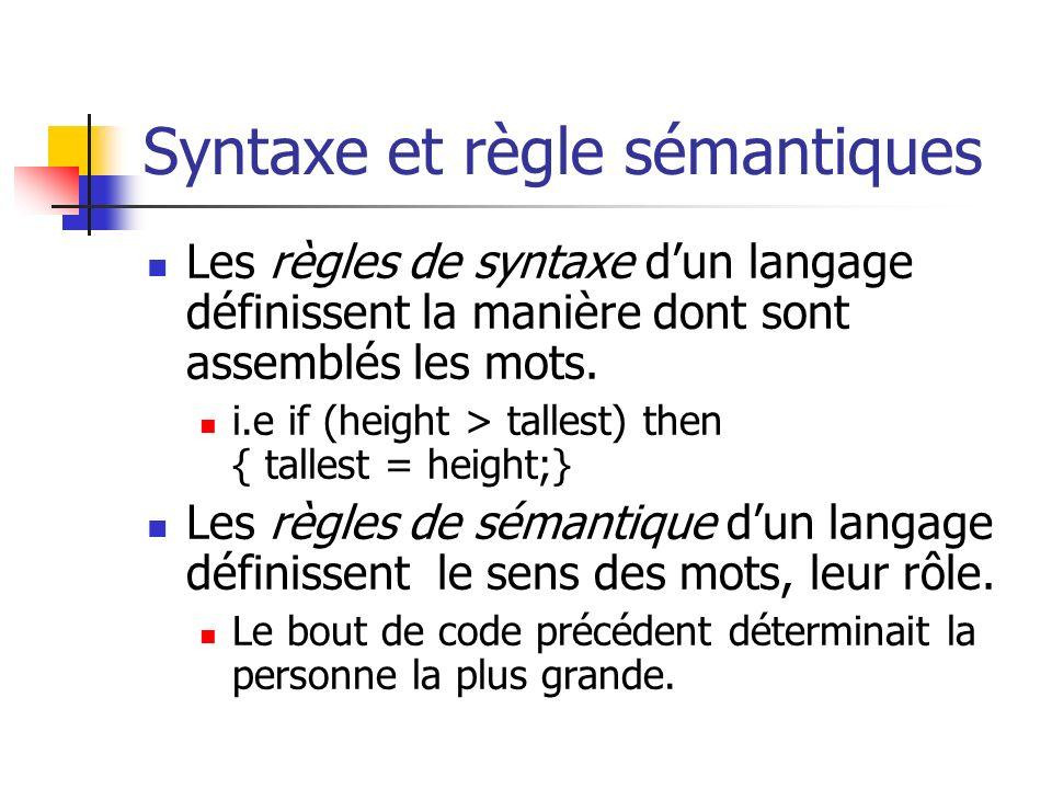 Syntaxe et règle sémantiques Les règles de syntaxe dun langage définissent la manière dont sont assemblés les mots. i.e if (height > tallest) then { t