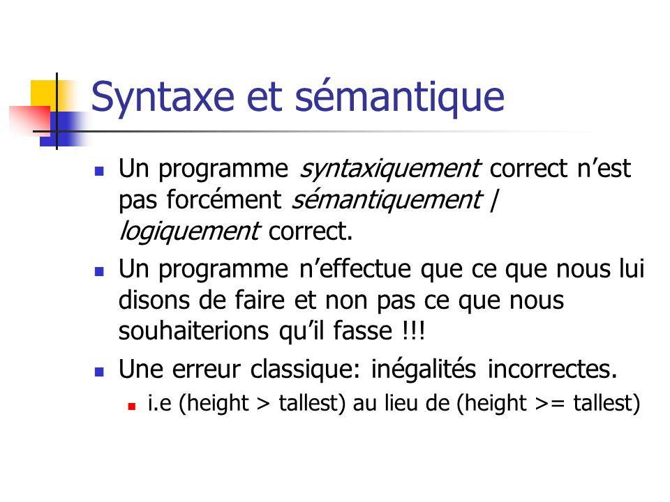 Syntaxe et sémantique Un programme syntaxiquement correct nest pas forcément sémantiquement / logiquement correct. Un programme neffectue que ce que n