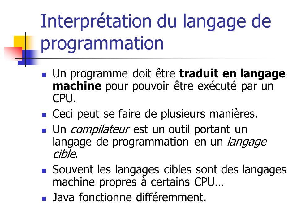Interprétation du langage de programmation Un programme doit être traduit en langage machine pour pouvoir être exécuté par un CPU. Ceci peut se faire