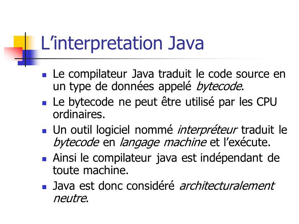 Linterpretation Java Le compilateur Java traduit le code source en un type de données appelé bytecode. Le bytecode ne peut être utilisé par les CPU or