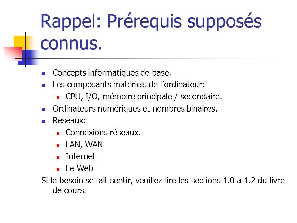 Rappel: Prérequis supposés connus. Concepts informatiques de base. Les composants matériels de lordinateur: CPU, I/O, mémoire principale / secondaire.