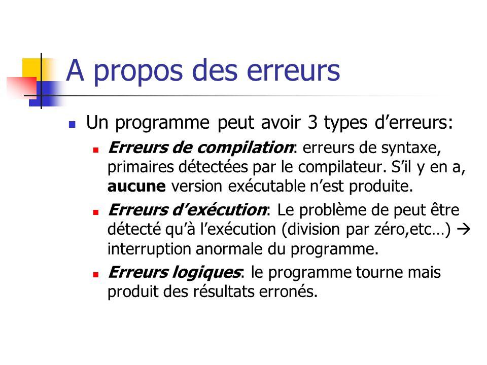 A propos des erreurs Un programme peut avoir 3 types derreurs: Erreurs de compilation: erreurs de syntaxe, primaires détectées par le compilateur. Sil