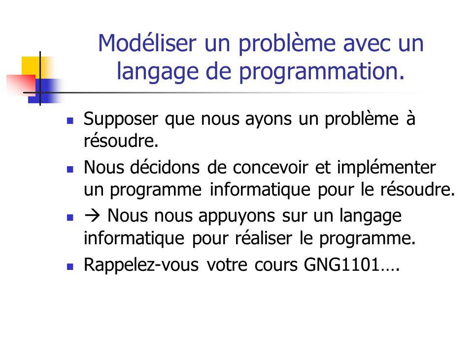 Modéliser un problème avec un langage de programmation. Supposer que nous ayons un problème à résoudre. Nous décidons de concevoir et implémenter un p