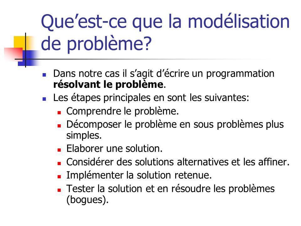 Queest-ce que la modélisation de problème? Dans notre cas il sagit décrire un programmation résolvant le problème. Les étapes principales en sont les