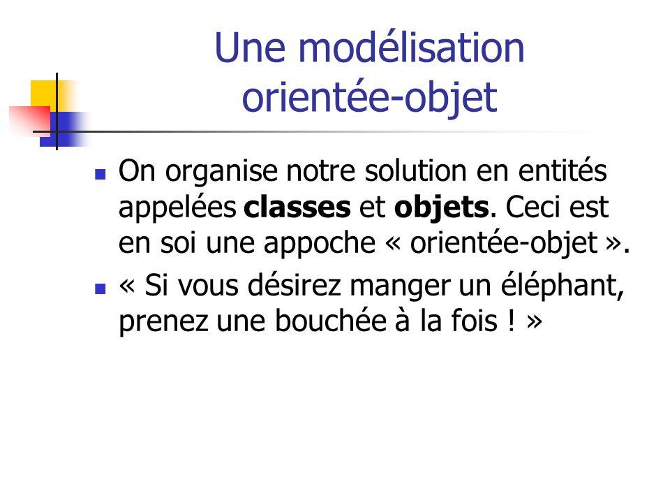 Une modélisation orientée-objet On organise notre solution en entités appelées classes et objets. Ceci est en soi une appoche « orientée-objet ». « Si