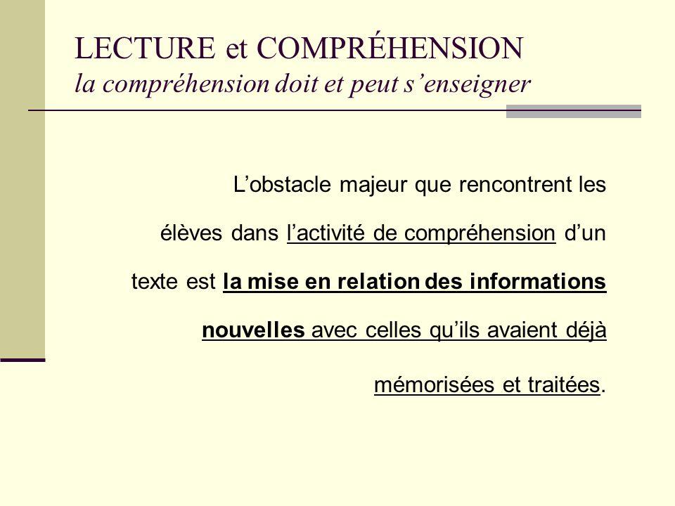 LECTURE et COMPRÉHENSION la compréhension doit et peut senseigner une activité de compréhension au cours même de la lecture Il y a un consensus fort p