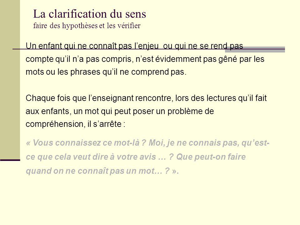 La prédiction (source: D. Lafontaine, université de Liège) faire des hypothèses et les confronter au texte « Tiens, là, je nai pas compris, moi. Je va