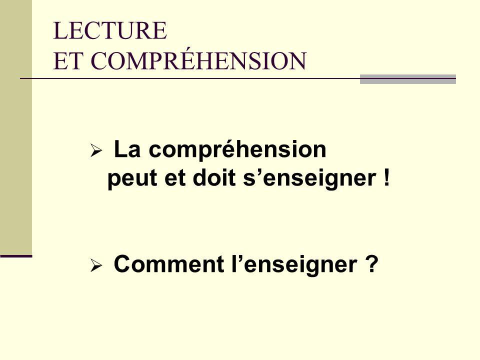 Lapprentissage de la compréhension la dimension transversale de lapprentissage de la lecture Préférer : « On lit POUR comprendre » À la formule : « Li
