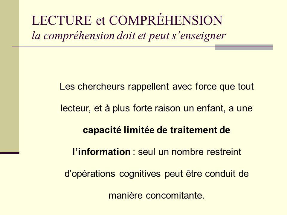 LECTURE ET COMPRÉHENSION La compréhension peut et doit senseigner ! Comment lenseigner ?