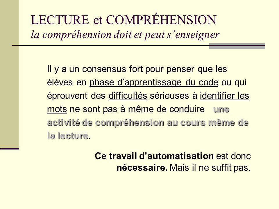LECTURE et COMPRÉHENSION la compréhension doit et peut senseigner la compréhension Ils soulignent en outre que si la compréhension est très souvent év