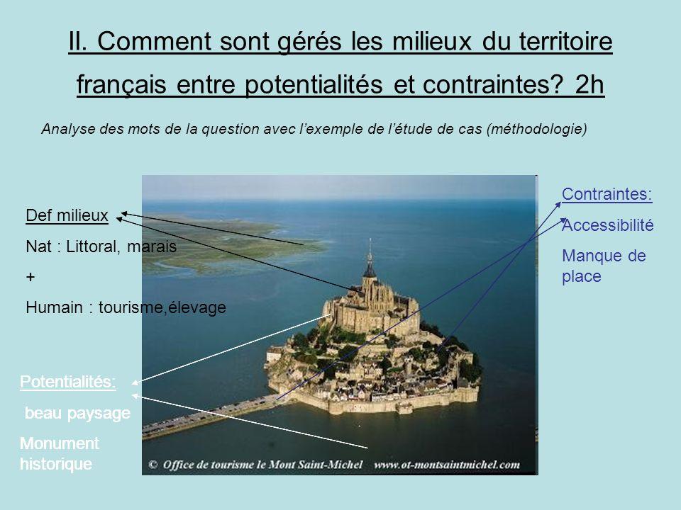 II. Comment sont gérés les milieux du territoire français entre potentialités et contraintes? 2h Analyse des mots de la question avec lexemple de létu