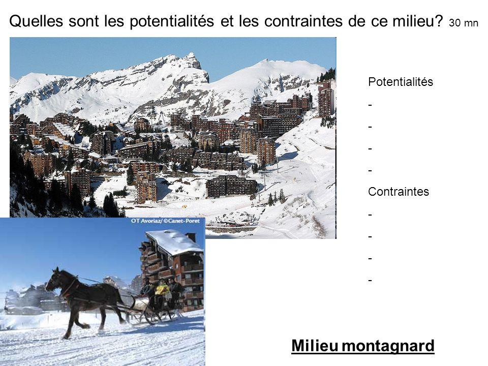 Quelles sont les potentialités et les contraintes de ce milieu? 30 mn Potentialités - - - - Contraintes - - - - Milieu montagnard
