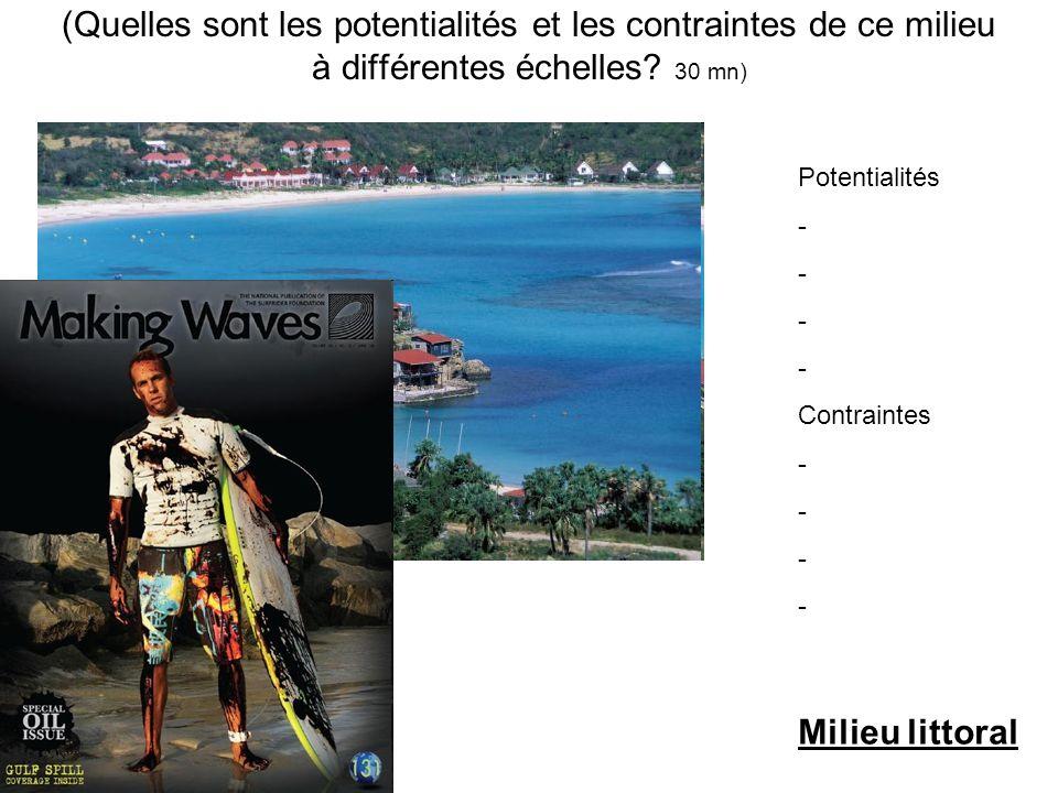 (Quelles sont les potentialités et les contraintes de ce milieu à différentes échelles? 30 mn) Potentialités - - - - Contraintes - - - - Milieu littor