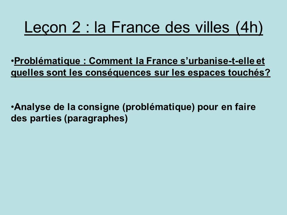Leçon 2 : la France des villes (4h) Problématique : Comment la France surbanise-t-elle et quelles sont les conséquences sur les espaces touchés? Analy