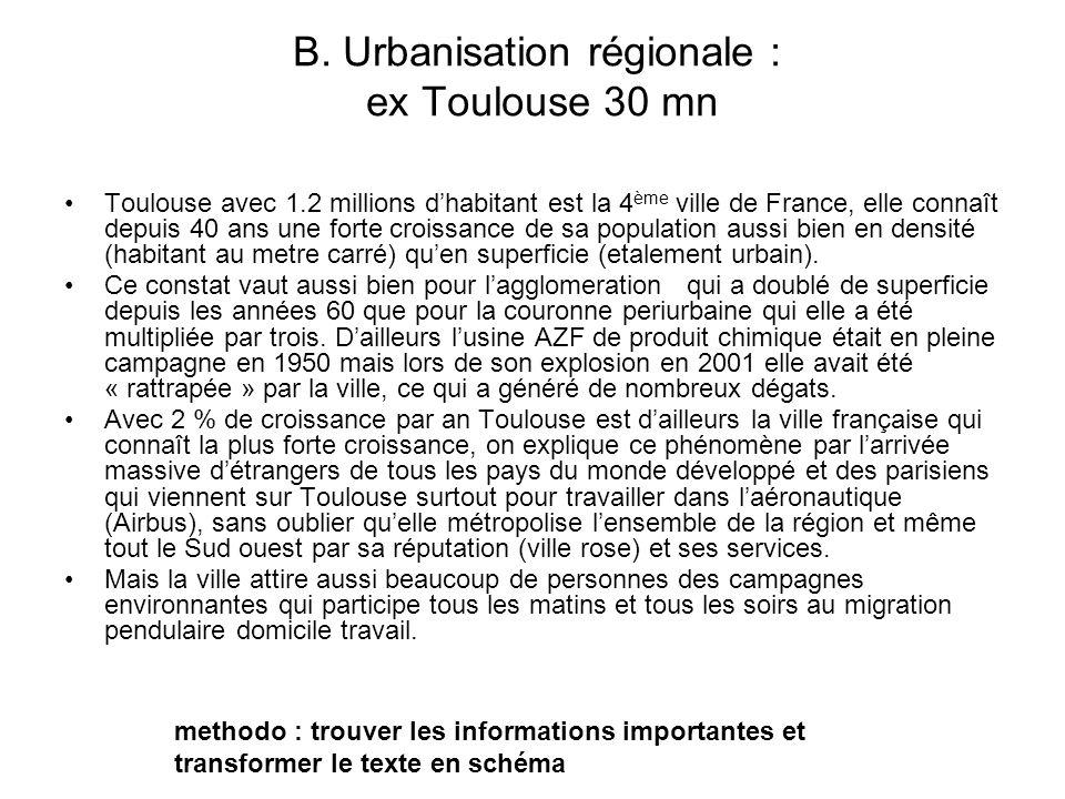 B. Urbanisation régionale : ex Toulouse 30 mn Toulouse avec 1.2 millions dhabitant est la 4 ème ville de France, elle connaît depuis 40 ans une forte